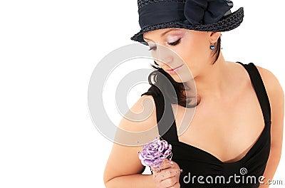 Teenage girl with flower