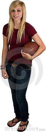 Teenage Girl With Football