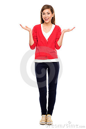 Teenage girl gesturing