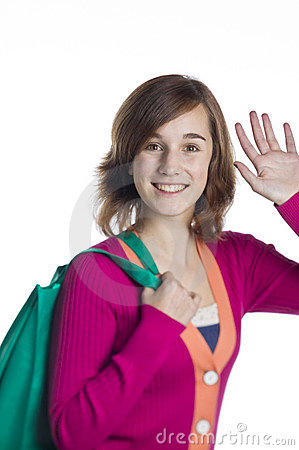 Teenage girl with a green reusable bag