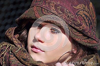 Teenage girl with headscarf
