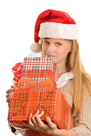 Teenage girl holding gifts