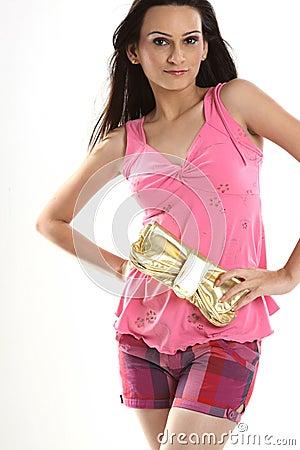 Teenage girl holding purse