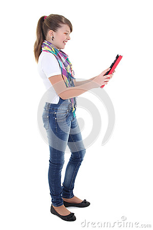Teenage girl holding tablet pc