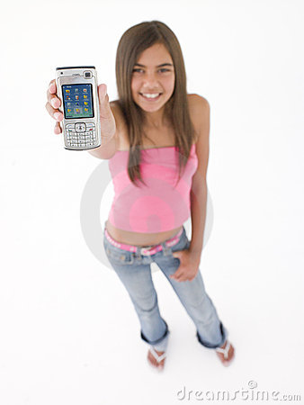 Free Teenage Girl Holding Up Cellular Phone Royalty Free Stock Photography - 5945467