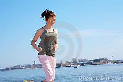 Teenage Girl Jogging