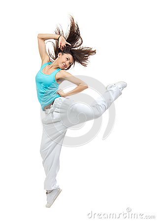 teenage girl jumping dancing