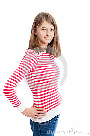 Teenage Girl with long hair and white pink striped shirt