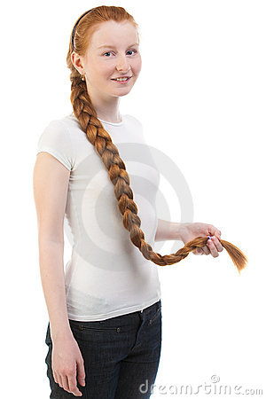 Teenage girl with long plait
