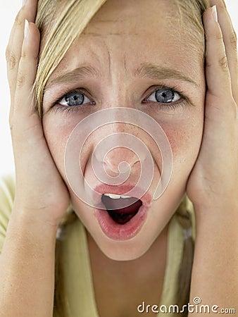Teenage Girl Looking Screaming