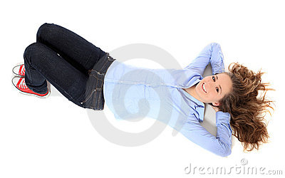 Teenage girl lying on floor