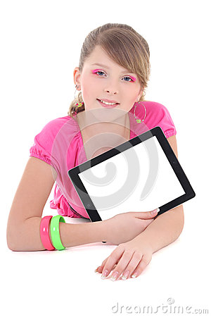 Teenage girl lying and using tablet pc isolated over white