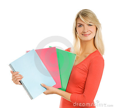 Teenage girl with notebooks