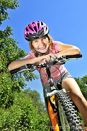 Free Teenage Girl On A Bicycle Stock Photo - 7152240