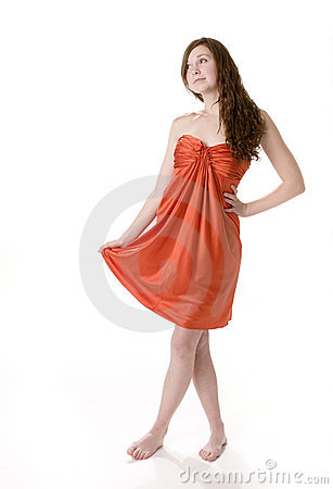 Teenage Girl in Orange Dress