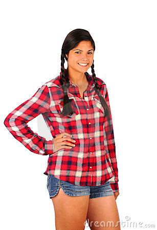 Teenage Girl in Plaid Shirt and Jean Shorts
