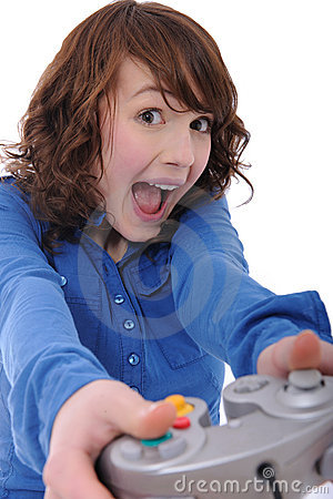 Teenage girl playing videogame
