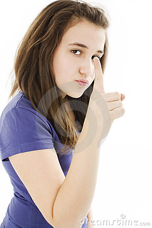 Teenage girl pointing finger