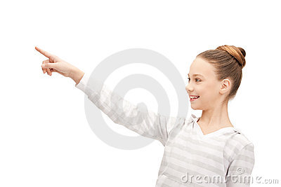 Teenage girl pointing her finger