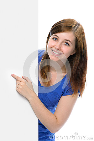 Teenage girl points her finger at a blank board
