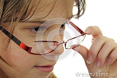 Teenage girl portrait with glasses