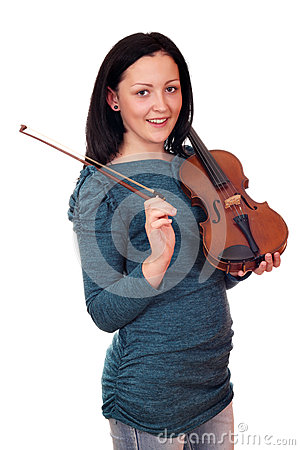 Teenage girl posing with violin