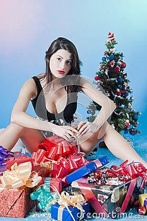 Teenage girl with presents