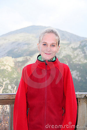 Teenage girl in red fleece