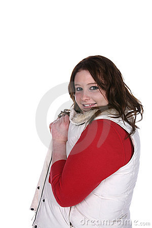 Teenage girl with red shirt and white vest