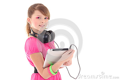 Teenage girl in red with tablet pc