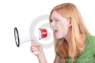 Teenage girl shouting