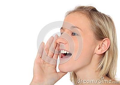 Teenage girl shouts out loud