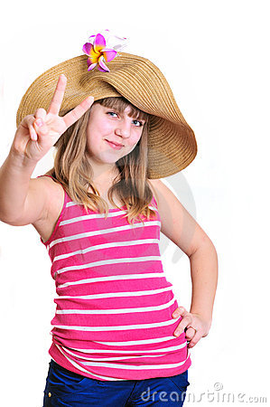 Free Teenage Girl Showing Victory Sign Stock Image - 14105461
