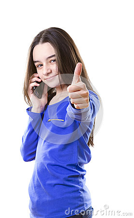 Teenage girl with smartphone poiting with her fing
