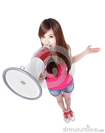 Girl student shouting through megaphone