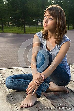 Teenage girl in summer park