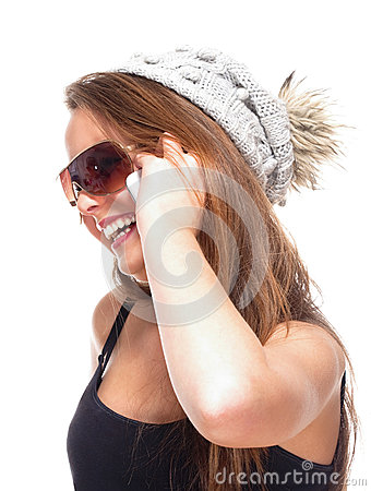 Teenage Girl with Sunglasses on Mobile Phone