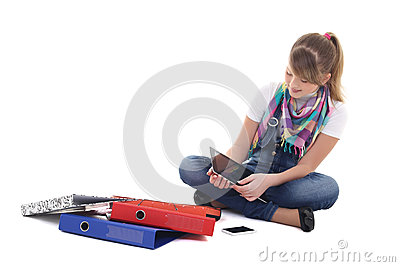 Teenage girl with tablet pc and mobile phone