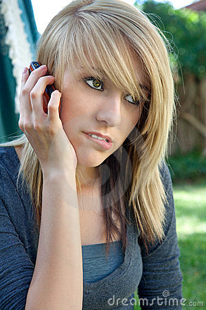 Teenage Girl Talking on Mobile Cell Phone
