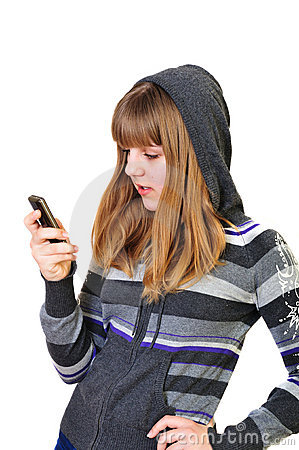 Teenage girl typing sms