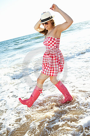 Teenage Girl Wearing Wellington Boots