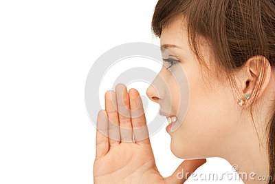 Teenage girl whispering gossip Stock Photo