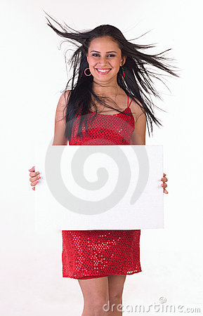 Teenage girl with white placard