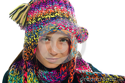 Teenage Girl With Winter Hat and Scarf