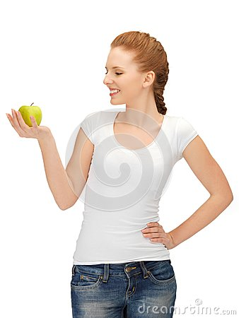 Free Teenage Girl With Green Apple Royalty Free Stock Photography - 25553517