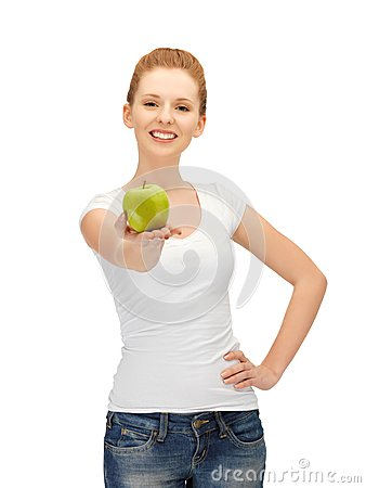 Free Teenage Girl With Green Apple Royalty Free Stock Images - 25770099