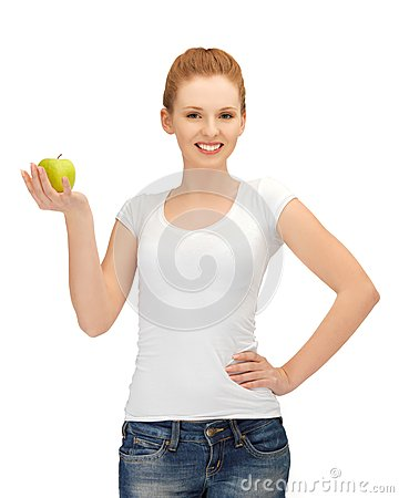 Free Teenage Girl With Green Apple Stock Photography - 25794222