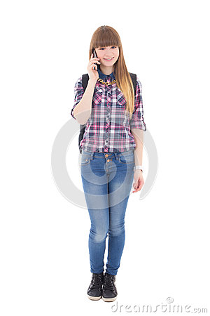 Free Teenage Girl With Mobile Phone Isolated On White Royalty Free Stock Images - 39600539