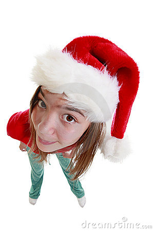 Teenage girl with Xmas Hat