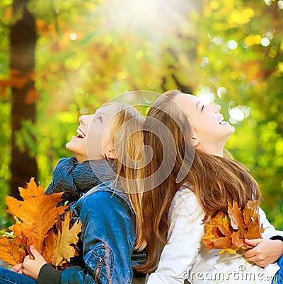 Teenage Girls in Autumn Park